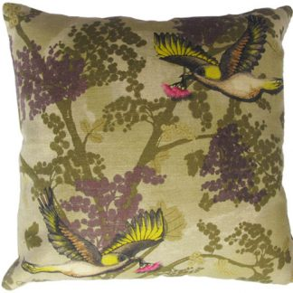 Luxury natural linen designer cushion, digitally printed with a floral design featuring the wattle flower and honeyeater with a gum blossom.
