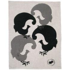 screen printed - tea towel - linen - fourbirds - black