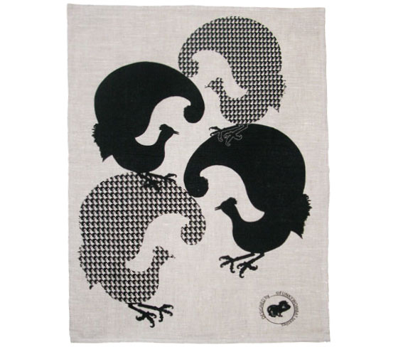 screen printed - tea towel - linen - fourbirds - black