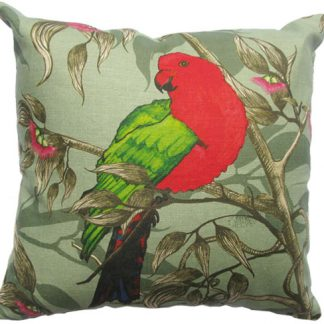 king parrot cushion cover printed onto 100% linen