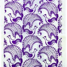 lyrebird screen printed linen tea towel