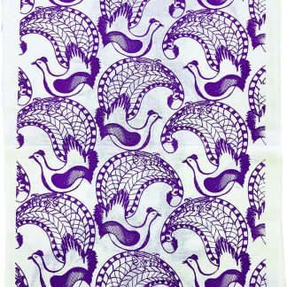 lyrebird screen printed linen tea towel