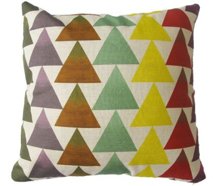 linen cushion cover with geometric triangles in a stripe patterndesigned and printed in Melbourne.