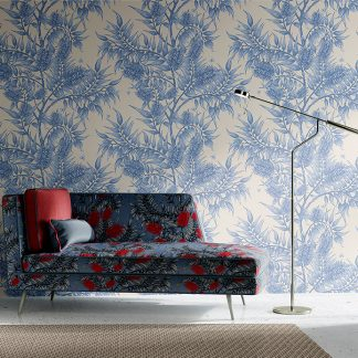 Interior-scene-featuring-Bees-in-the-Bottlebrush-wallpaper_lilac-on-cream