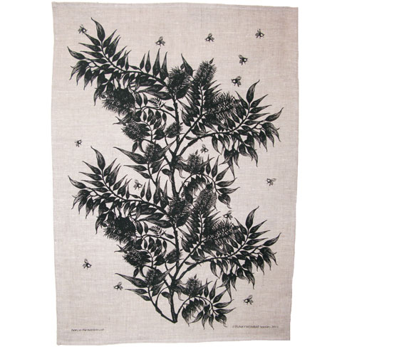 screen printed linen tea towel - bees in the bottlebrush - black