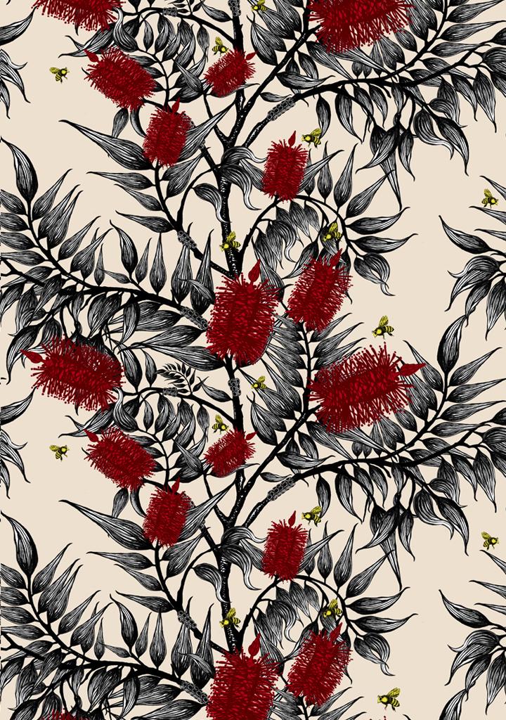 bees-in-the-bottlebrush_red-flowers_cream-ground