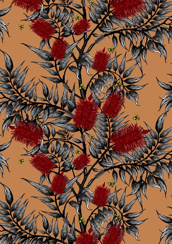 bees-in-the-bottlebrush_yellow-bees-tan