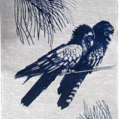 red tailed black cocatoo, tea towel printed with waterbased and eco friendly inks.