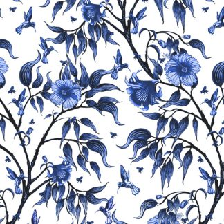 Our wallpaper and fabric design is printed in Australia and features the beautful hibiscus flower with birds and bees scattered througout.
