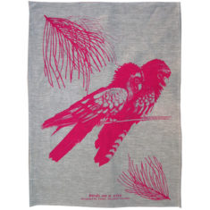 Black Cockatoo tea towel handprinted with waterbased pigment onto a natural linen base.