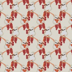 upholstery fabric - birds in the berries - orange- cream