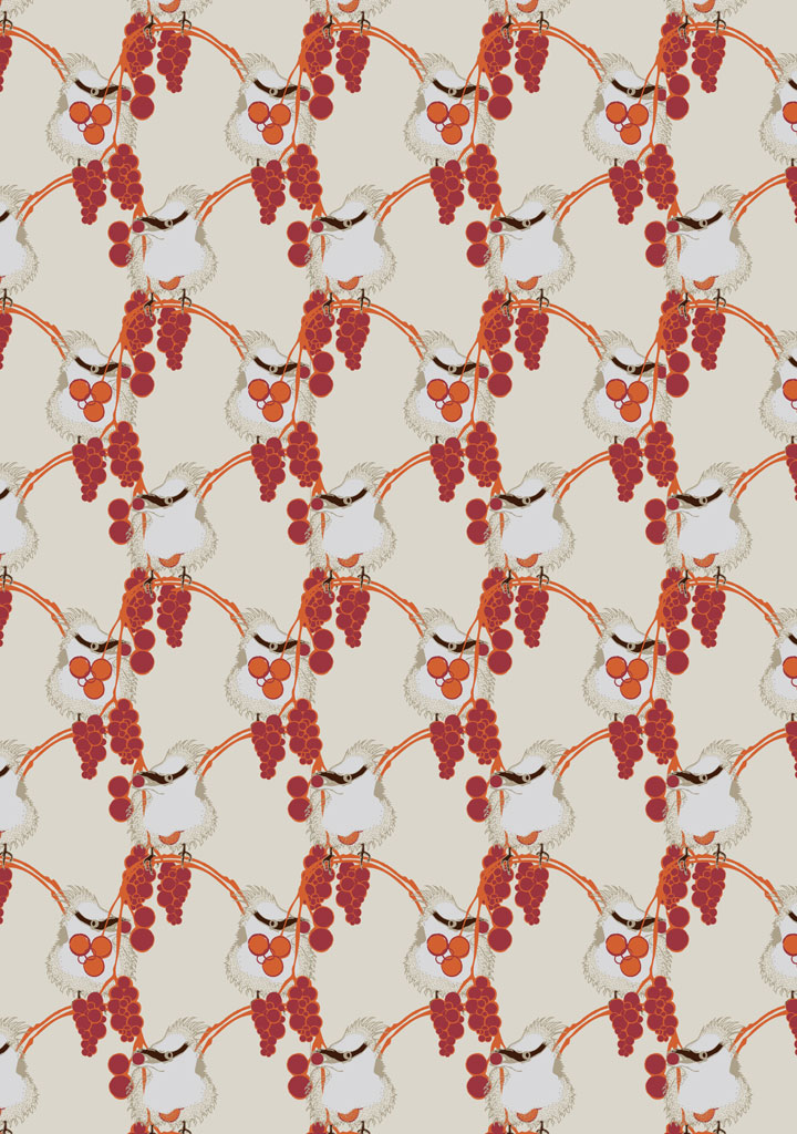 birds in the berries – orange – cream