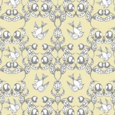 wallpaper - birds in the gumnuts - cream