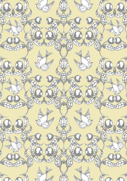 wallpaper - birds in the gumnuts - cream