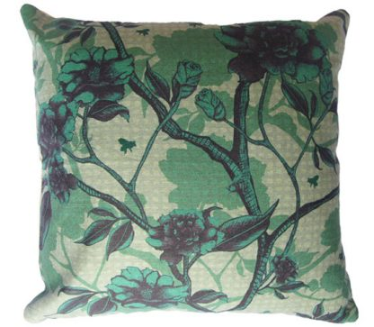 Luxury natural linen cushiondesigner cushion, digitally printed with a floral design featuring a Camellia floral pattern and bees.
