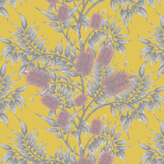 Our Bees in the bottlebrush design is available as a wallpaper, furnishing fabric and linen. Designed and printed in Australia.