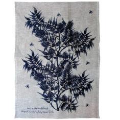 Screen printed linen tea towel designed in Melbourne Australia