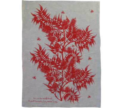 bees in the bottlebrush linen tea towel