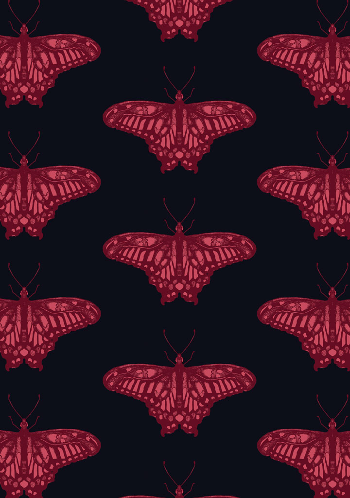 butterfly gem – fabric – rasberry