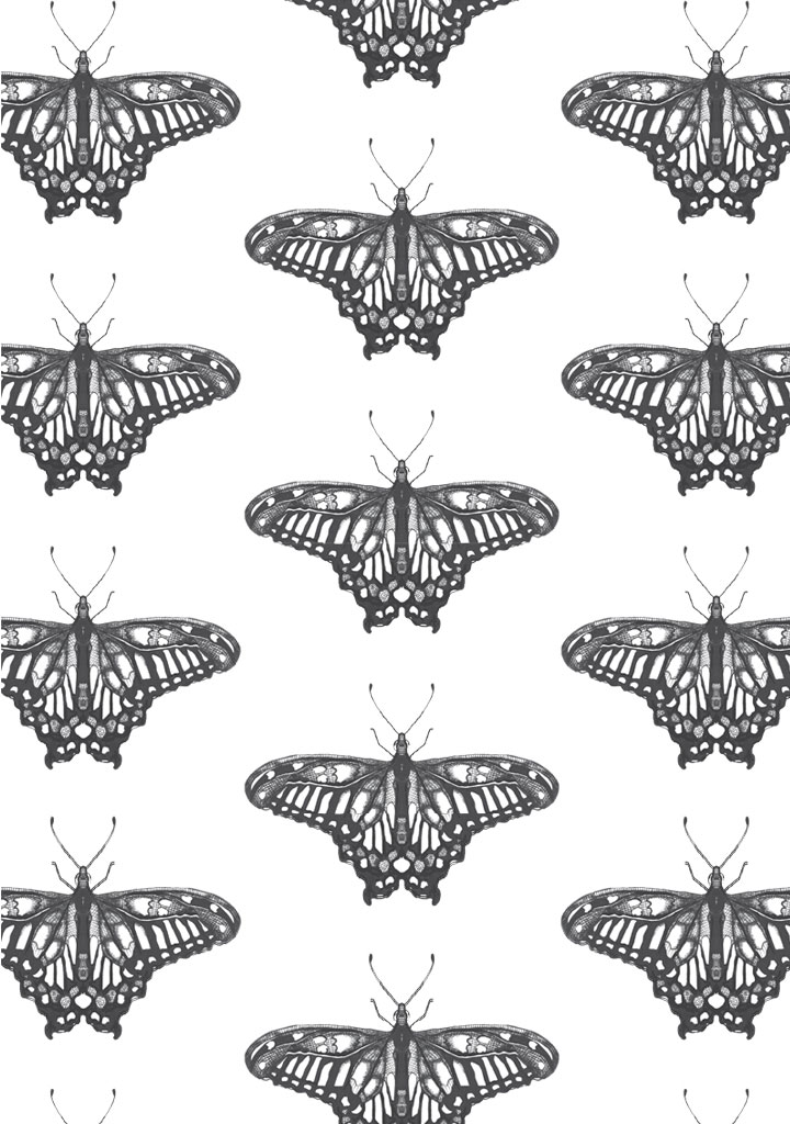 butterfly gem – fabric – grey