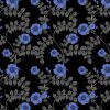 wallpaper - upholstery fabric - hibiscus swirl - blue noir