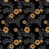 wallpaper - upholstery fabric - hibiscus swirl - mustard noir