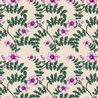 wallpaper- upholstery fabric - wild hibiscus - pink - cream