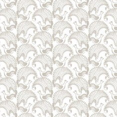 upholstery fabric - more lyrebirds - white