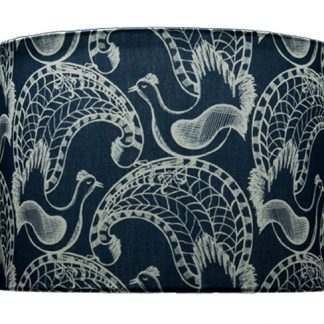 Lampshade - more lyrebirds - blue