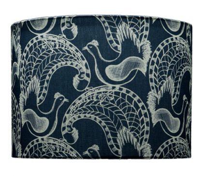 Lampshade - more lyrebirds - blue