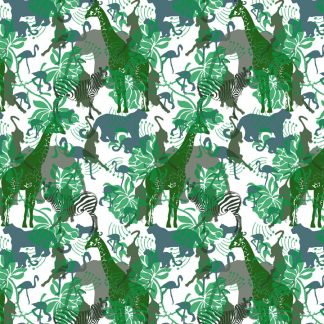 Wild Animals wallpaper and fabric is designed and printed in Australia and features lions, flamingoes,giraffes and elephants.