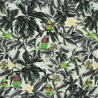 Printed on wallpaper,fabric and linen our junglebirds design features Gauldian finches and silver eye sitting amongst the foliage.