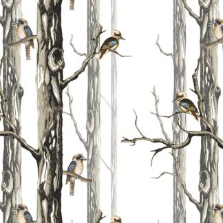Our Linen birds in the woods - kookaburrais suitable for lampshades and cushions and curtains.
