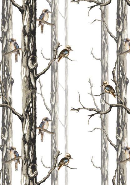 wallpaper - birds in the woods - white