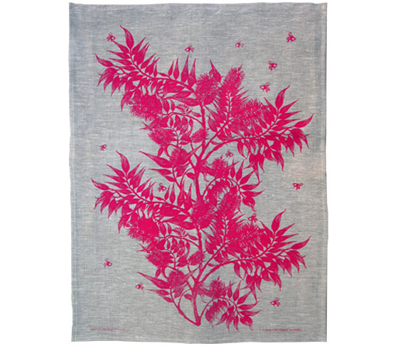 Screen printed linen tea towel designed in Melbourne Australia