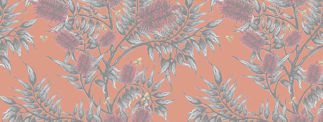 bees in the bottlebrush _wallpaper and fabric design