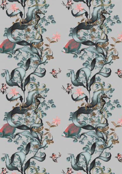 Our wallpaper is designed and printed in Australia and features the seaweed , angel emperor fish and a zebra seahorse.