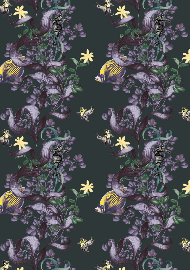 wallpaper - underwater wonderland in aubergine