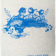 Hand screen printed linen tea towel featuring the superb fairywren.