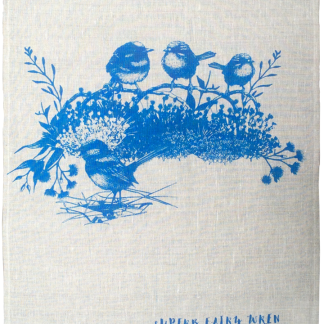 blue wren linen teatowel handscreen printed with waterbased pigment
