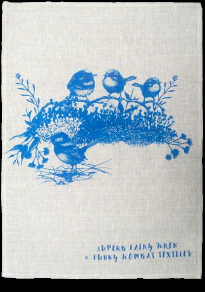 blue wren linen teatowel handscreen printed with waterbased pigment