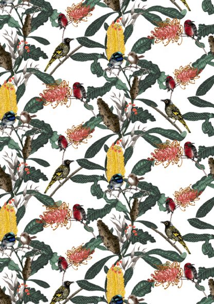 banksia Medley white background available as a upholstery fabric, linen or wallpaper.