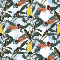 Our wallpaper is designed and printed in Australia and features Banksia and Grevillea flowers with Blue wrens, scarlet breasted robyn and the regent honeyeater.