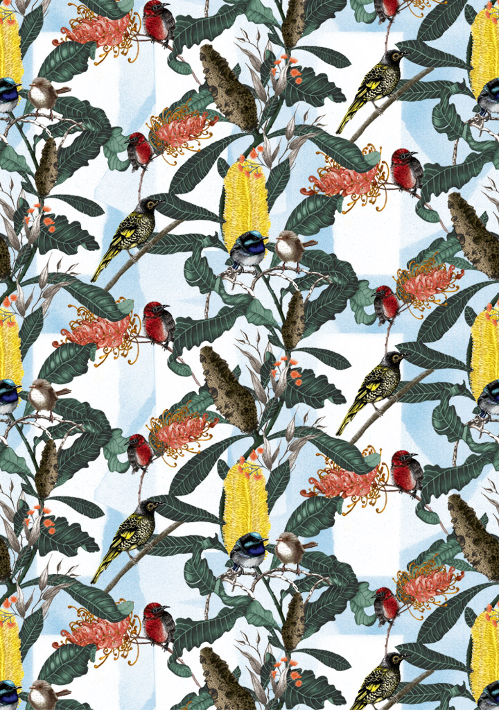 Banksia Medley is an intricate design featuring Banksia and Grevillea flowers with Blue wrens, Scarlet breasted robyn and the Regent Honeyeater. Design looks great printed on our linen , wallpaper or commercial fabric.
