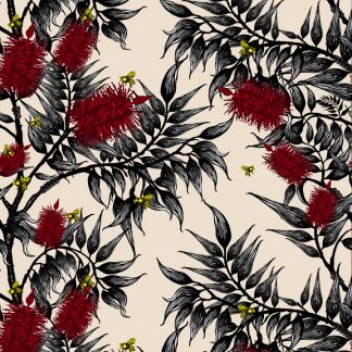 bees in the bottlebrush design for wallpaper, linen and upholstery fabric