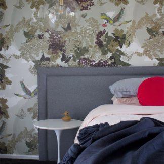 Bedroom interior design by The Design Ward & Blossom Wallpaper designed by Tamara Design Co