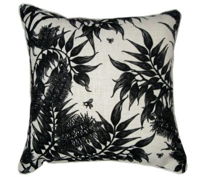 linen cushion cover with bees in the bottlebrush design.