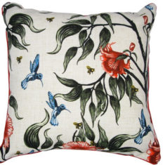 linen cushion cover with birds in the flowers design designed and printed in Melbourne.