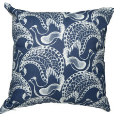 linen cushion cover with a contemporary lyrebird design designed and printed in Melbourne.