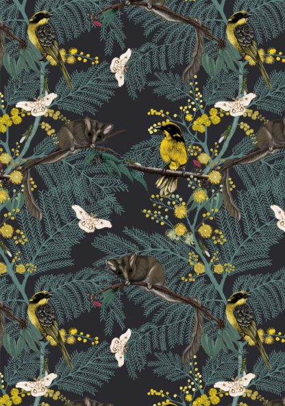 Our Leadbeater possum design is available as a wallpaper, furnishing fabric and linen. Designed and printed in Australia.